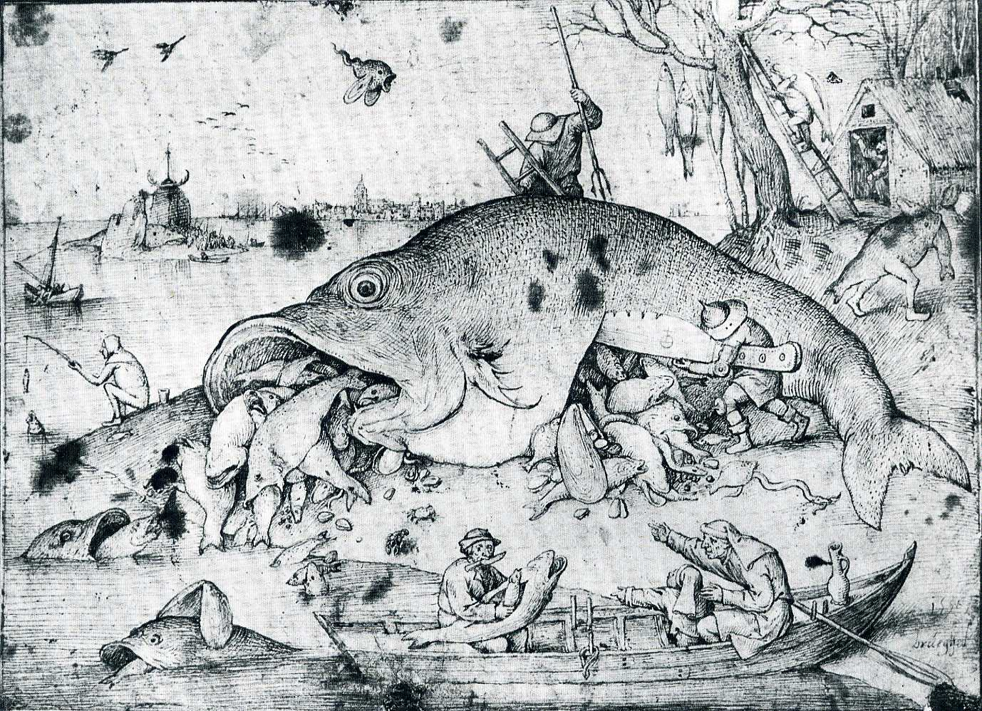 Perspective in art sound mixing gastronomy and tableaus for Big fish eat small fish